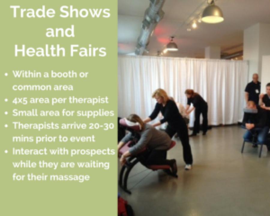 phoenix corporate chair massage employee health fairs trade show arizona