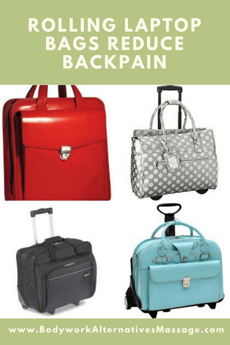 rolling laptop bag reduces back pain