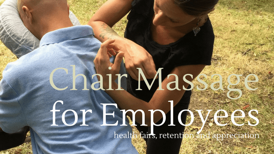chair massage for employees woman demonstrating chair massage