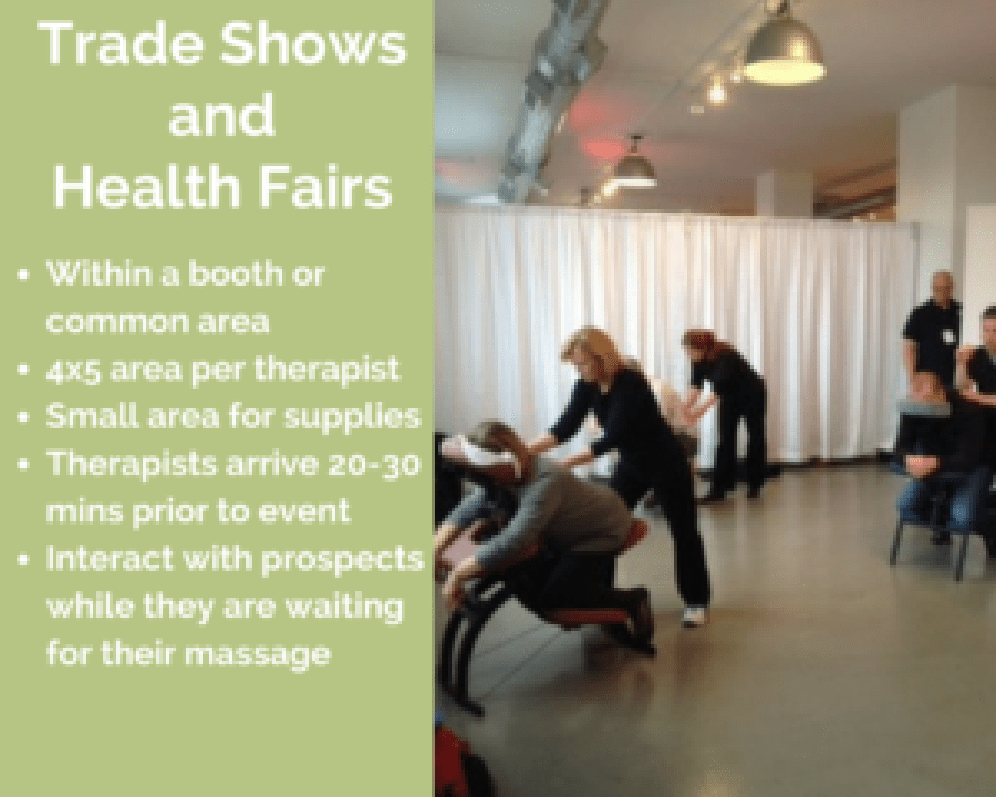 westerville corporate chair massage employee health fairs trade show ohio