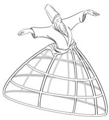 Dansende derwisj met het frame van een hoepelrok als rok.