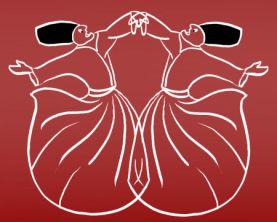 Twee spiegelbeeldig dansende derwisjen die met elkaar praten.