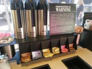 Prop 65 Warning at Starbucks All the fine print boils down to saying that coffee might cause cancer.