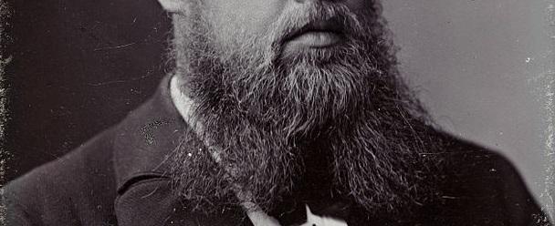 A photograph of Sophus Lie's very full and bushy beard.