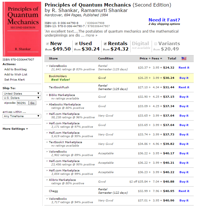 A screencapture of GetTextbook.com's search and sort functionality and layout