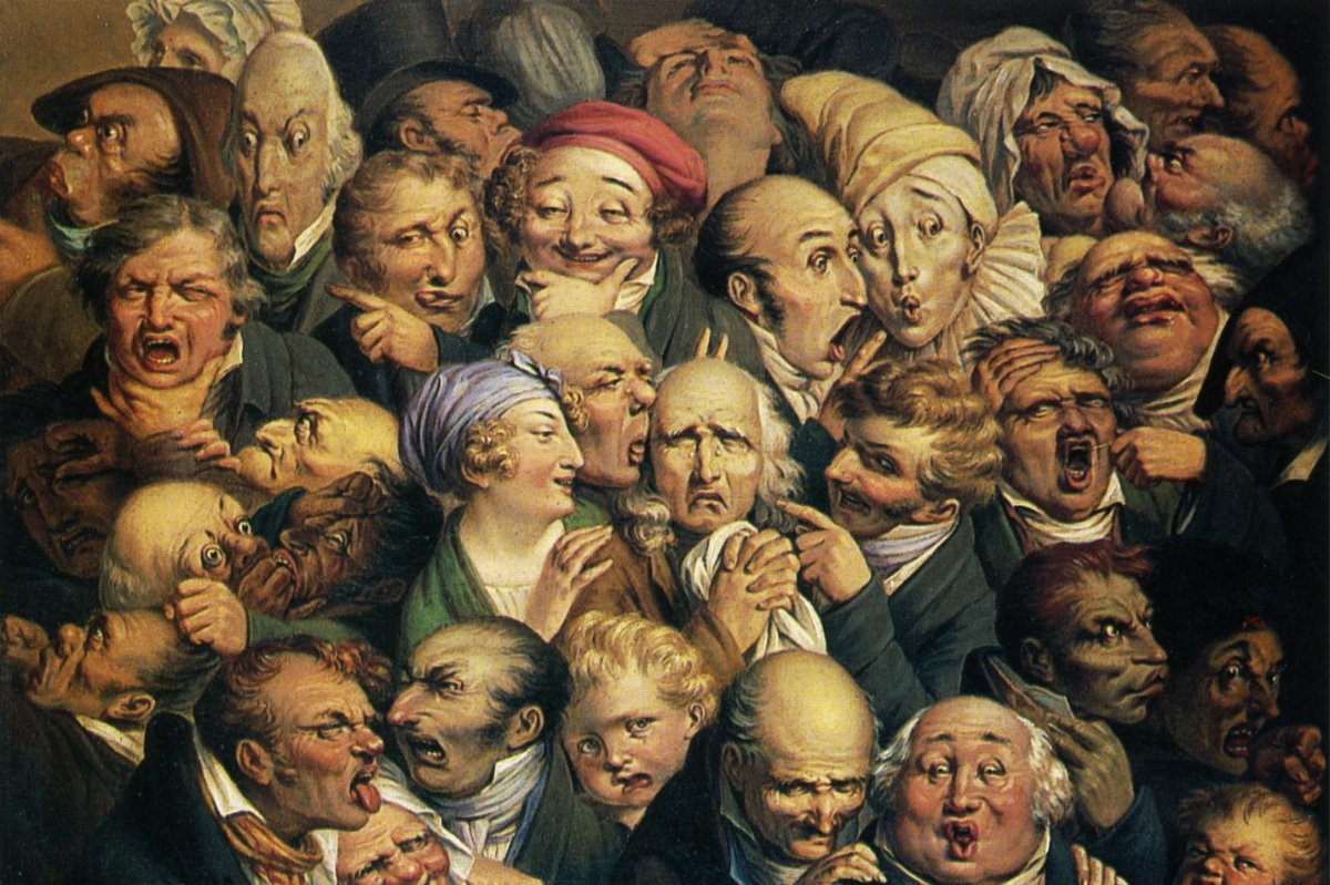 Honore Daumier's Meeting of thirty-five heads of expression