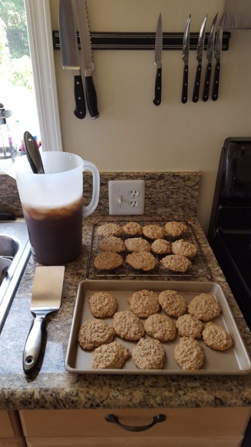 The oatmeal cookies and iced tea we served at the opening.