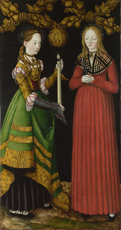 Lucas Cranach the Elder, 1472 - 1553 Saints Genevieve and Apollonia 1506 Oil on lime, 120.5 x 63 cm Bought, 1987 NG6511.1 This painting is part of the group: 'The St Catherine Altarpiece: Reverses of Shutters' (NG6511.1-NG6511.2) http://www.nationalgallery.org.uk/paintings/NG6511.1