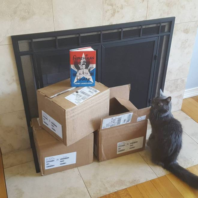 A few more cases of #AmerikanKrazy showed up this afternoon for the event at BC Space on Sunday http://www.boffosockobooks.com/2016/03/15/bc-space-gallery/