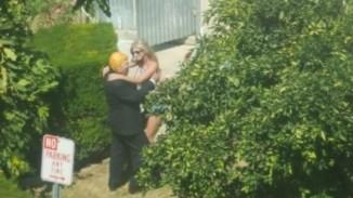 Trump meets a girl in the garden