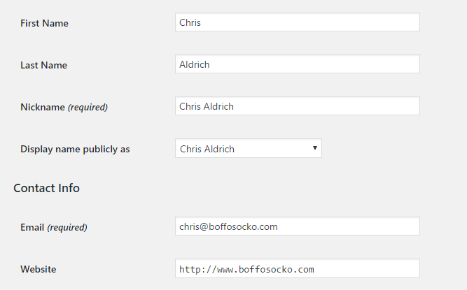 WordPress screenshot of admin panel for user information.