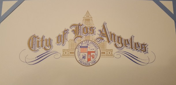 A close up of the beautiful header on the certificates of appreciation.