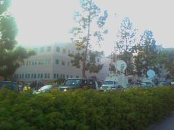 06/26/2009 Massive media zoo at UCLA for passing of Michael Jackson! 32 SAT trucks. LAPD army camped out.