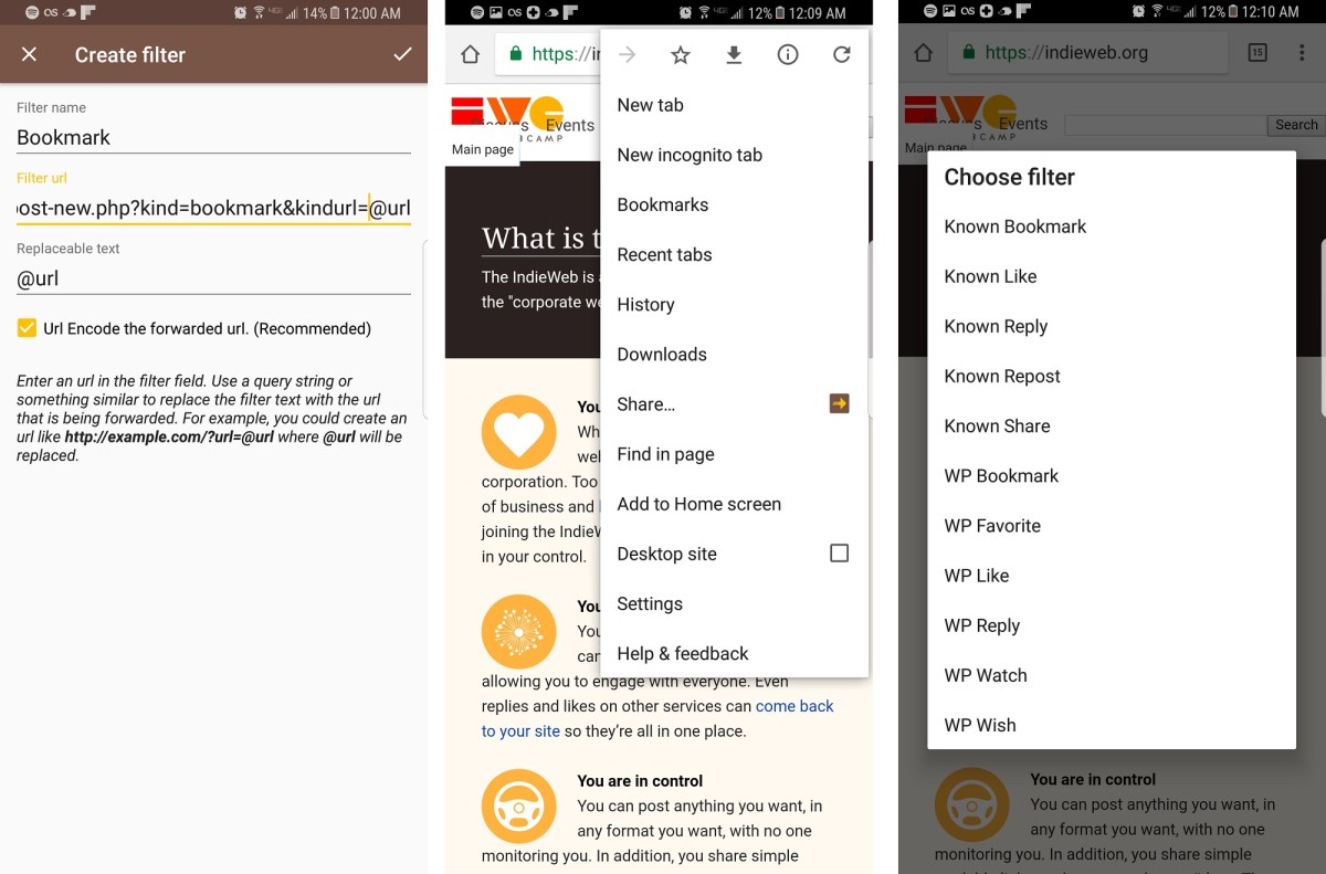 Browser Bookmarklets and Mobile Sharing with Post Kinds Plugin for WordPress