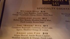 Basin 141 drink menu