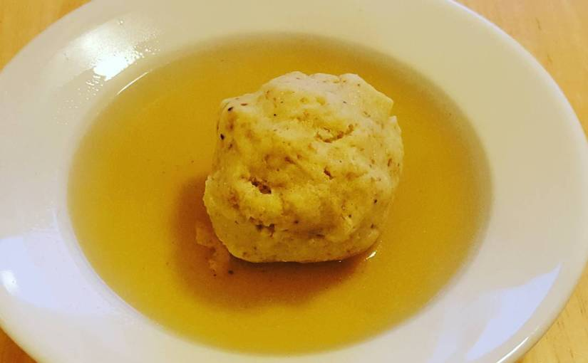 My first try at home made matzo ball soup! Next time I'll use schmaltz.