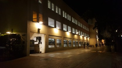 Exterior of City of Pasadena Schoolhouse Garage at night
