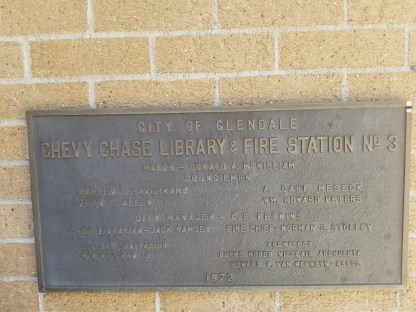 Dedication plaque on Checkin Chevy Chase Canyon Library