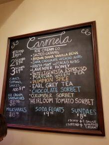 Carmela's menu board