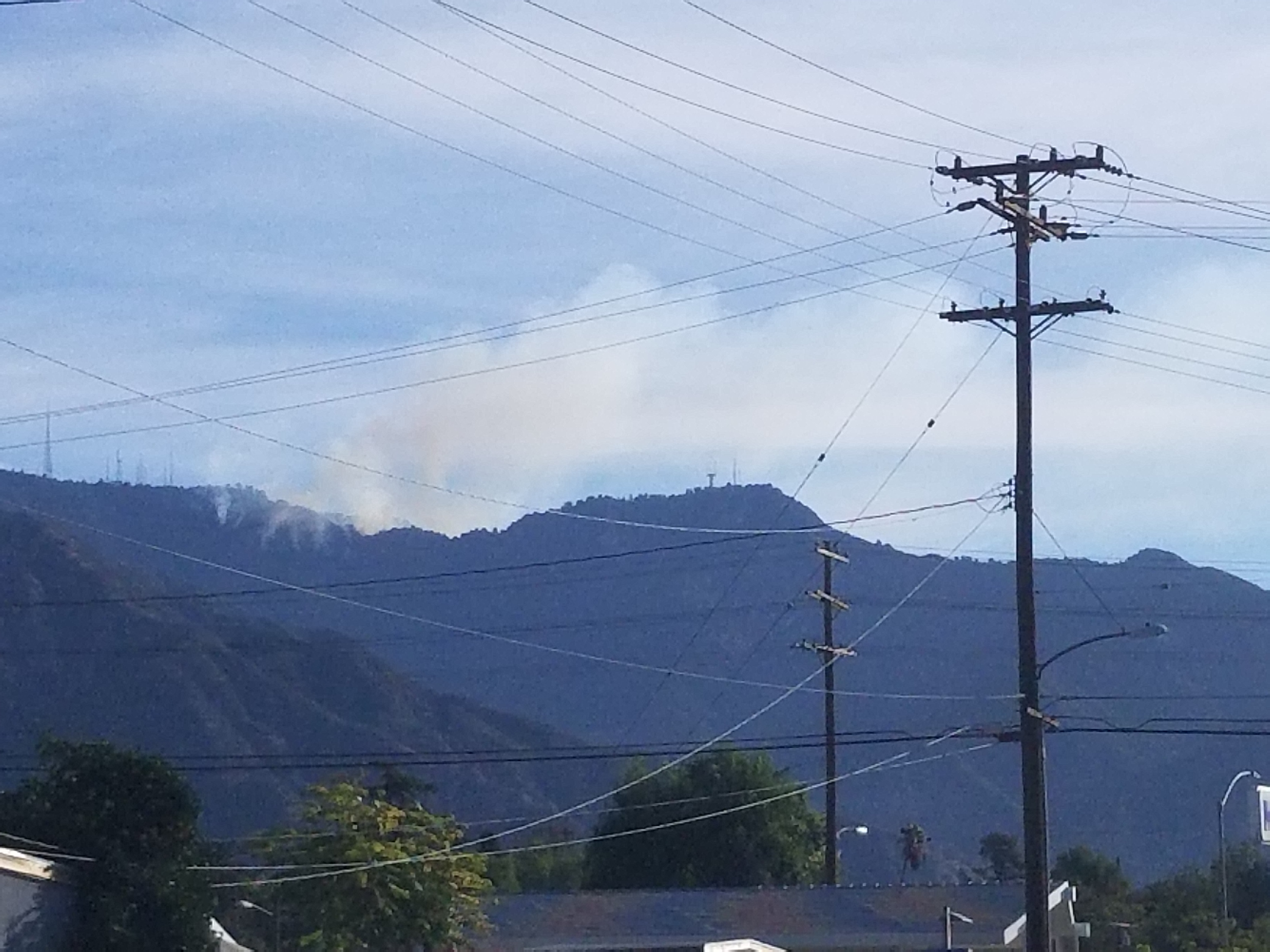 View of the Wilson Fire from East Pasadena on Woodbury.
