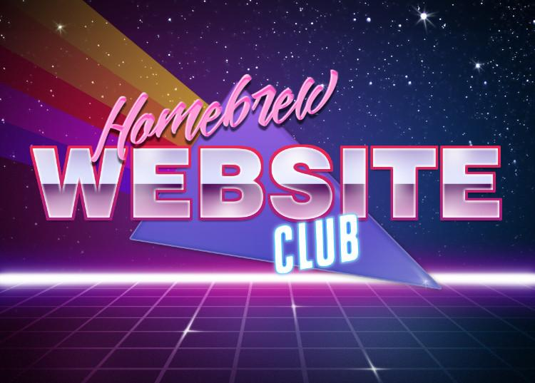 "Spacey logo with square grid at the bottom and a starfield background featuring the words ""Homebrew Website Club"""