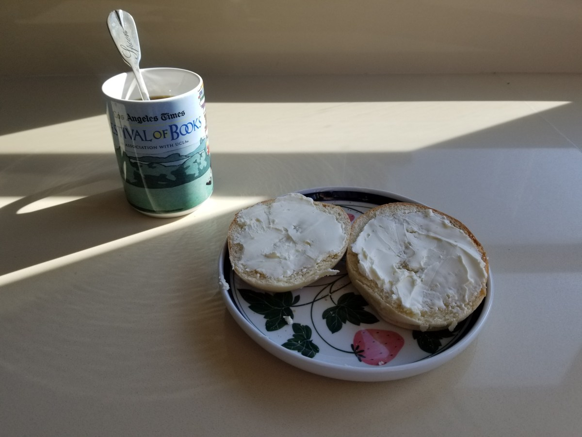 Elevenses: Diamonds's bagel with cream cheese and coffee