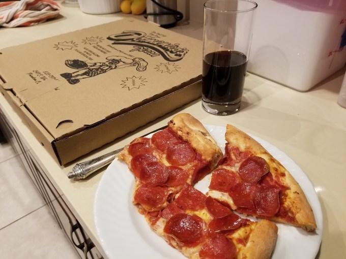 Pepperoni pizza with coca-cola zero sugar