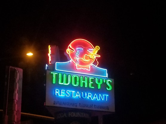 The awesome neon sign over the restaurant.