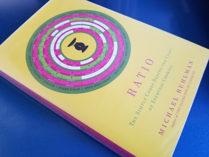 Hardcover copy of Michael Ruhlman's book Ratio sitting on a desk