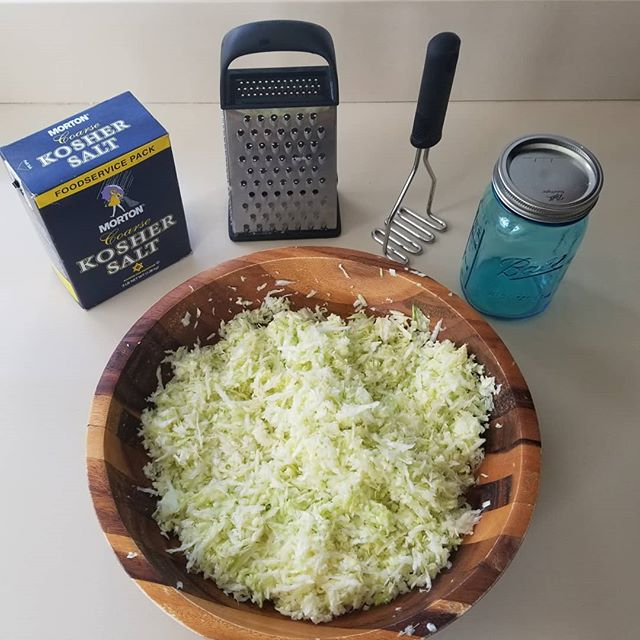 Everything* you need for great sauerkraut *Patience not pictured