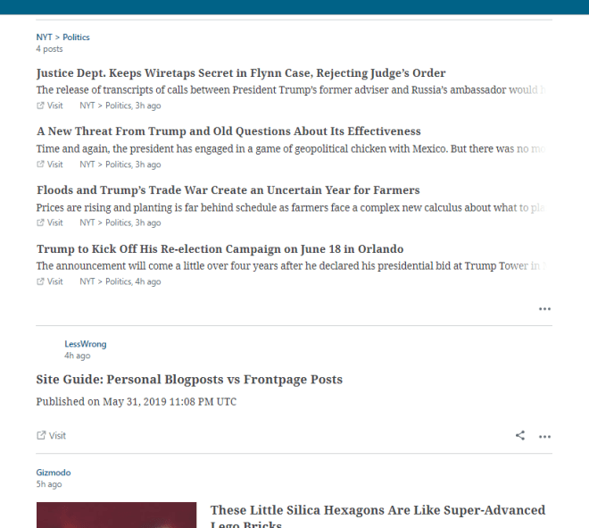 Screencapture of the WordPress reader UI in which the New York Times feed has four items collected together despite other sources being posted between them in time.