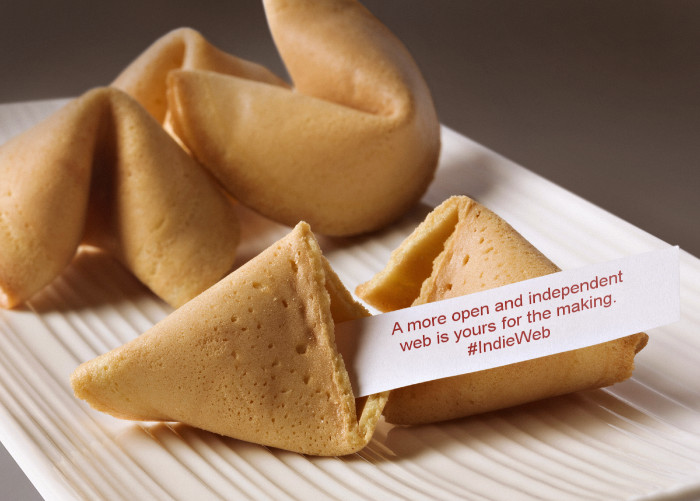 "A plate of fortune cookies with one broken open containing the fortune ""A more open and independent web is yours for the making. #IndieWeb"""
