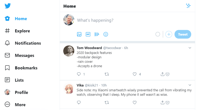 Screencapture of Twitter's simple posting interface
