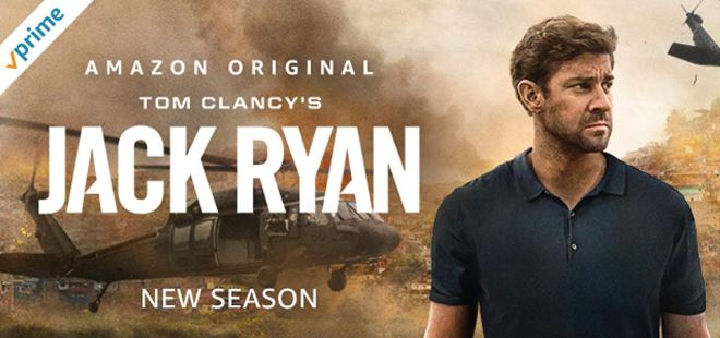 Cover art for Amazon Prime's second season of Jack Ryan featuring the title character with a war-torn scene of destruction behind him.