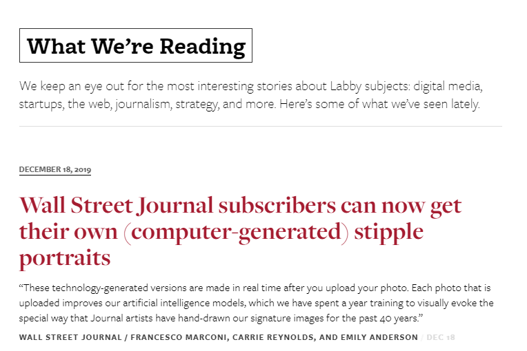 "Screencapture of the layout of NiemanLab's ""What We're Reading"" page featuring 10 articles with bold linked headlines, a story summary, the name of the outlet, writer, and publication date."