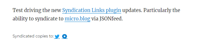 Screencapture of a post on my site featuring the new Syndication Links features for micro.blog