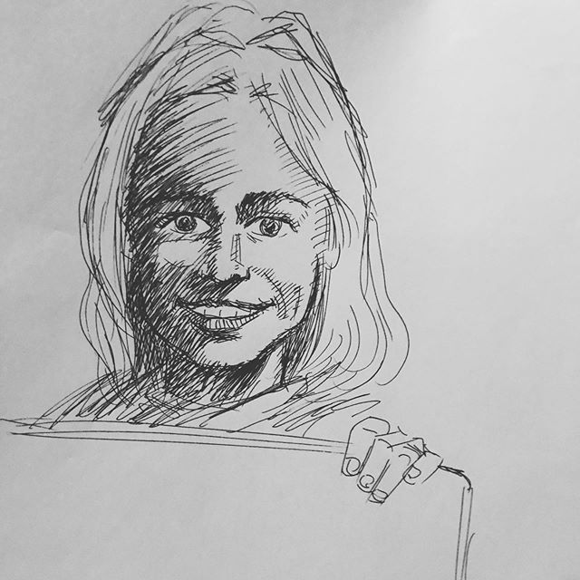 Line sketch of Jocelyn Ranne