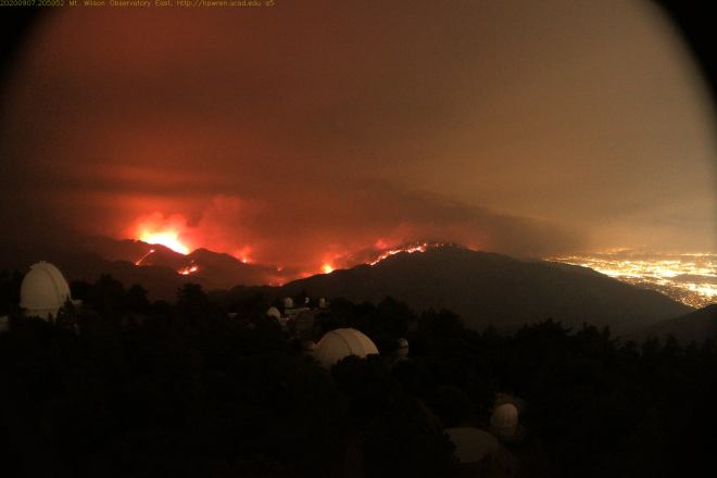 View from the Mount Wilson Observatory East towards the burning flames of the Bobcat Fire