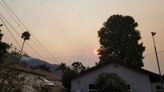 View from the back yard toward the Bobcat fire: haunting orange sun rises from behind the smoke