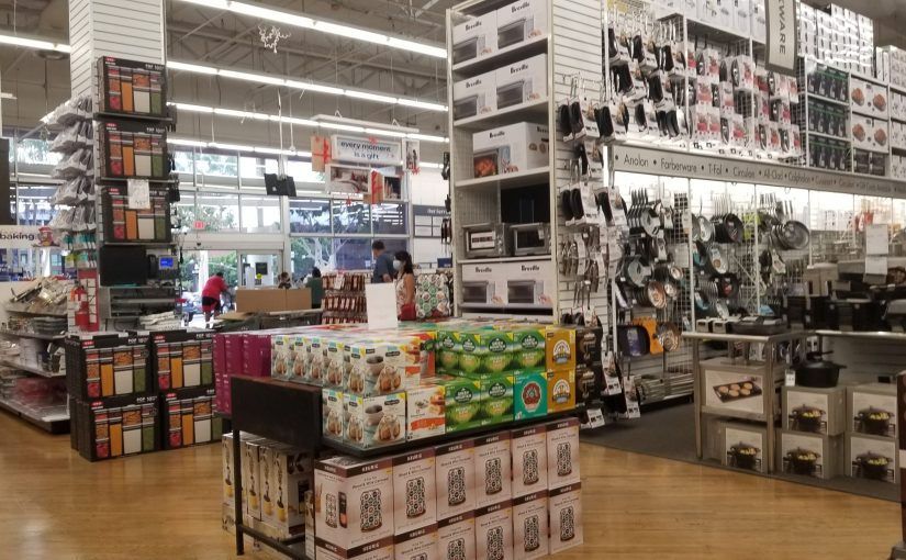 Busy shelves inside the Bed Bath & Beyond