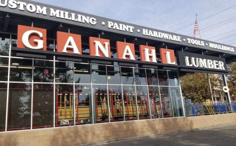 view of the front of Ganahl Lumber sign on the front of the store