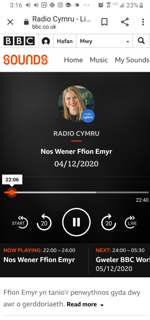 phone screenshot of BBC Radio Cymru featuring Ffion Emyr and her show