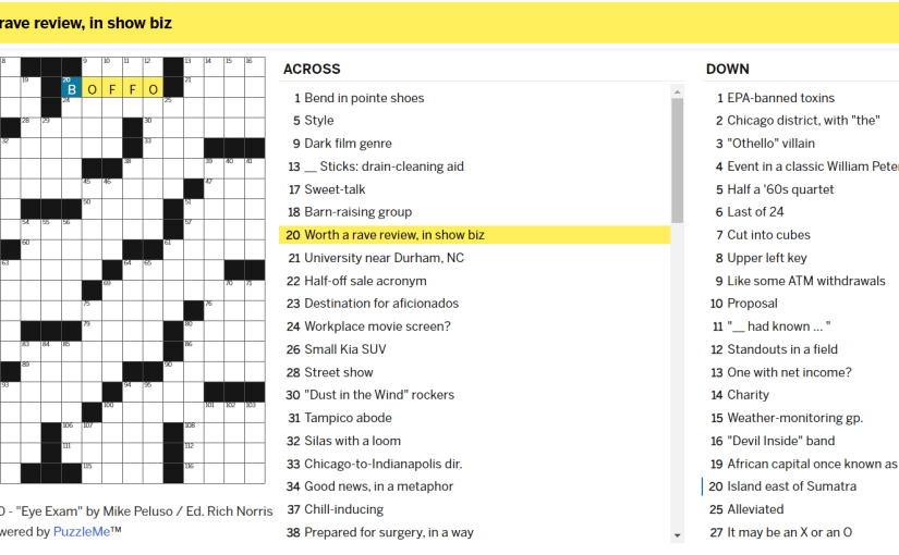Sunday crossword featuring the answer Boffo highlighted as the answer for 20 Across