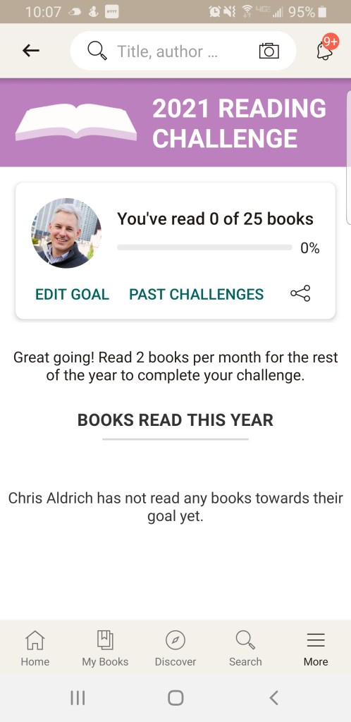 mobile screenshot of reading goal of 25 books