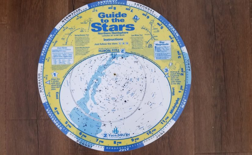 large plastic circular star chart showing the constellations