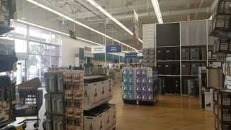 shelves and products inside the front of Bed, Bath & Beyond