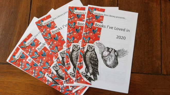 "fanned out display of five copies of the Altadena Library zine ""Books I've loved in 2020"""