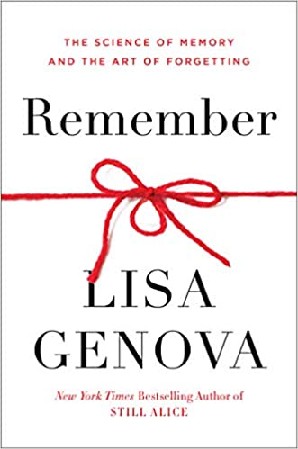 Simple white book cover of Remember by Lisa Genova featuring a piece of red string tied into a knotted bow