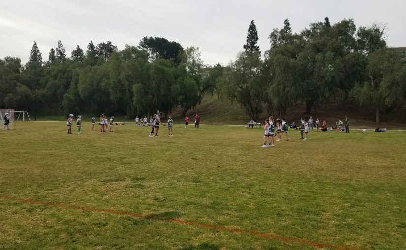 A field full of girls playing lacrosse