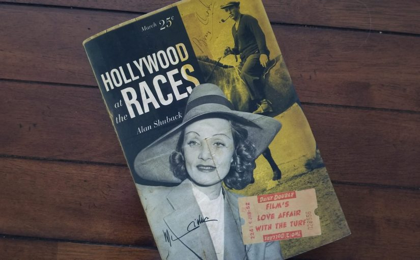 Book cover of Hollywood at the Races featuring a black and white vintage photo, a jockey on a horse, and a betting slip